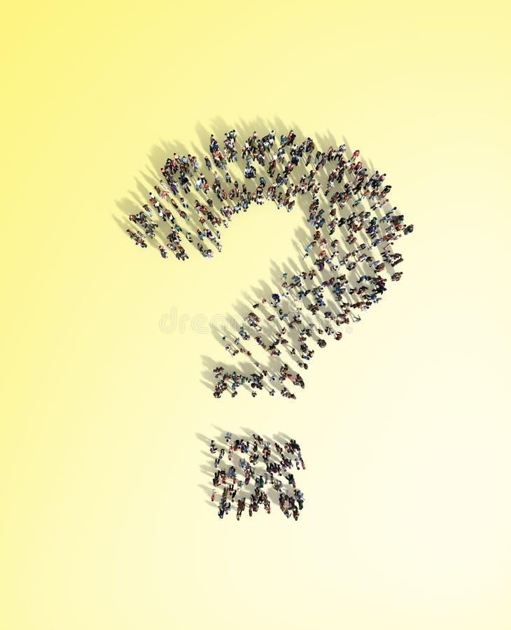 Grupo de personas grande con preguntas, concepto de pensamiento, o búsqueda ilustración del vector