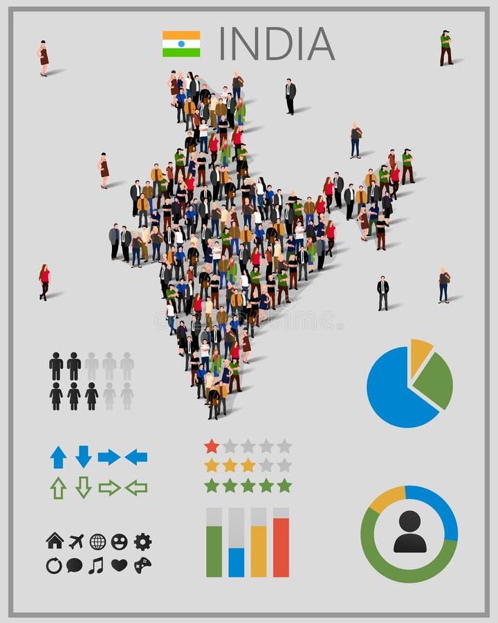 Grupo de personas grande en el mapa de la India con los elementos del infographics Fondo para la presentación ilustración del vector