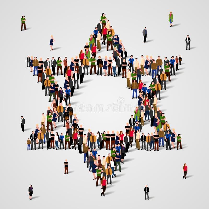 Grupo de personas grande en la estrella de la forma de David Muestra del judaísmo Fondo judío Símbolo religioso ilustración del vector