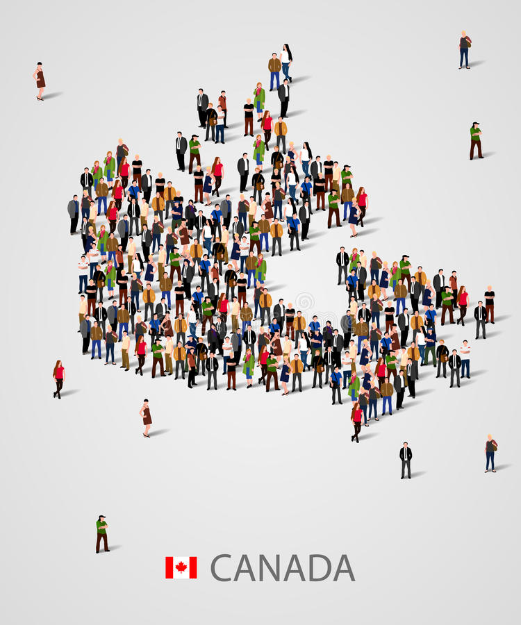 Grupo de personas grande en la forma de mapa de Canadá Fondo para la presentación stock de ilustración