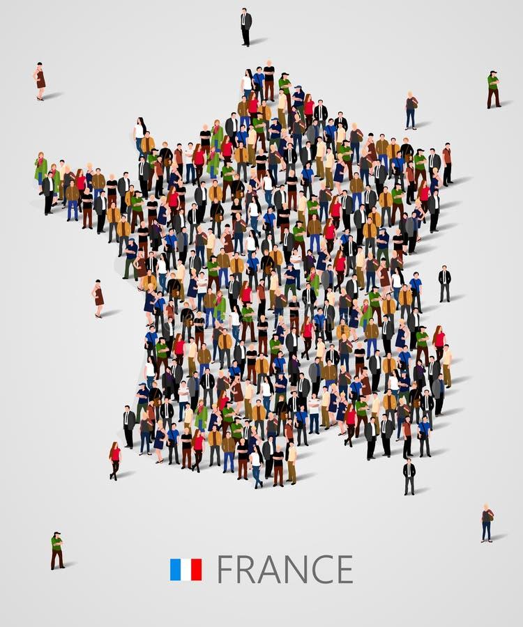Grupo de personas grande en la forma de mapa de Francia Población de Francia o de plantilla del demographics libre illustration
