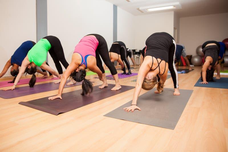 Grupo de personas grande en un estudio de la yoga imagen de archivo