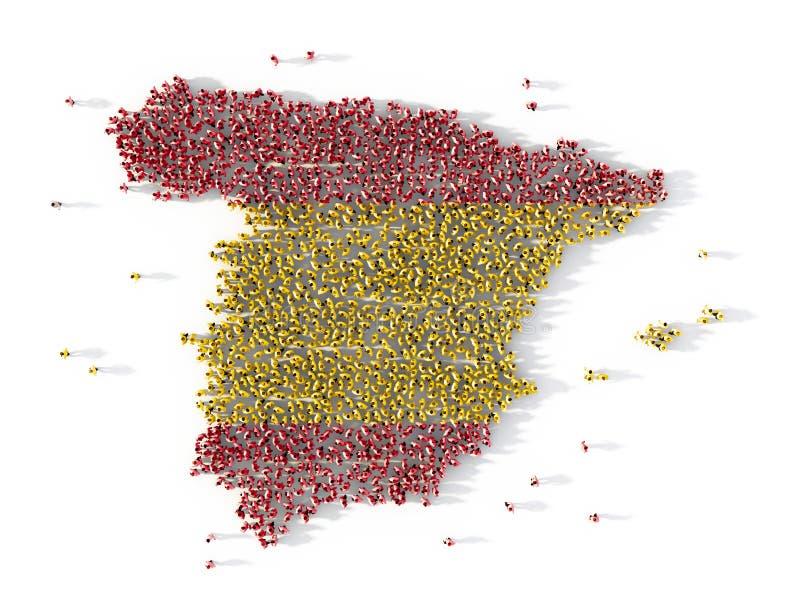 Grupo de personas grande que forma concepto del mapa de España ilustración 3D libre illustration