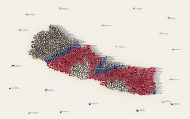 Grupo de personas grande que forma el mapa de Nepal y la bandera nacional en concepto social de los medios y de la comunidad en e libre illustration