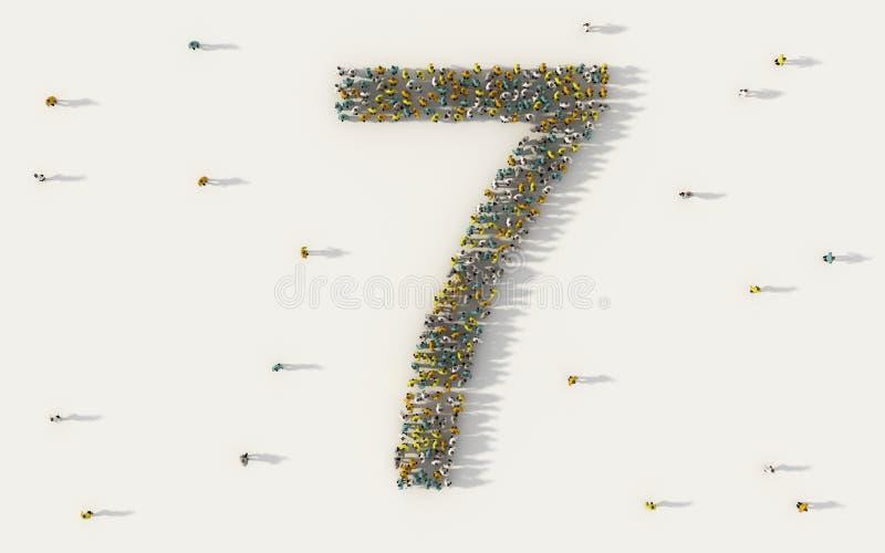 Grupo de personas grande que forma el número siete, 7, carácter del texto del alfabeto en medios sociales y concepto de la comuni ilustración del vector