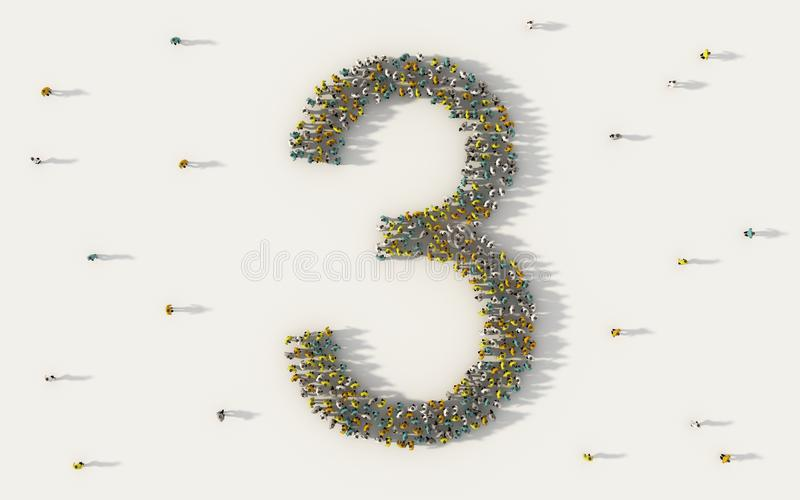 Grupo de personas grande que forma el número tres, 3, carácter del texto del alfabeto en medios sociales y concepto de la comunid ilustración del vector