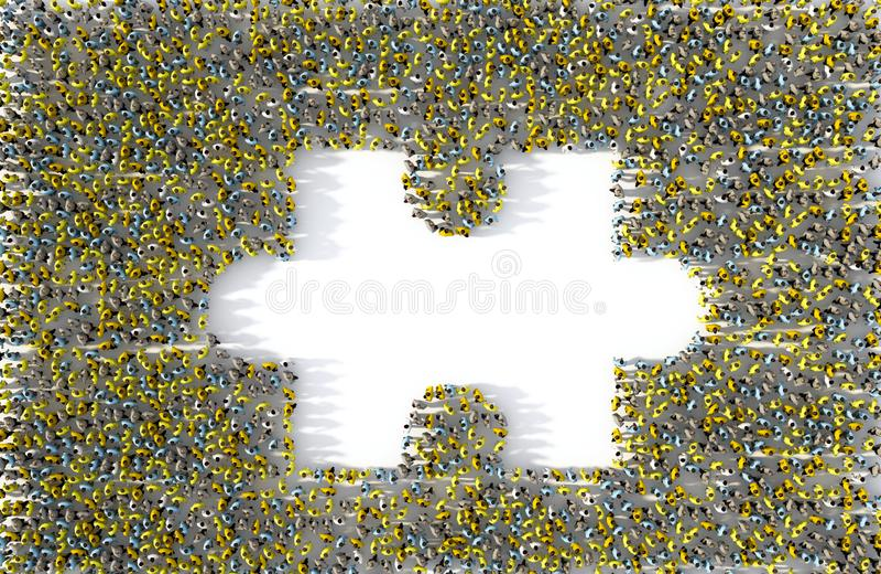 Grupo de personas grande que forma un pedazo que falta del rompecabezas ilustración del vector