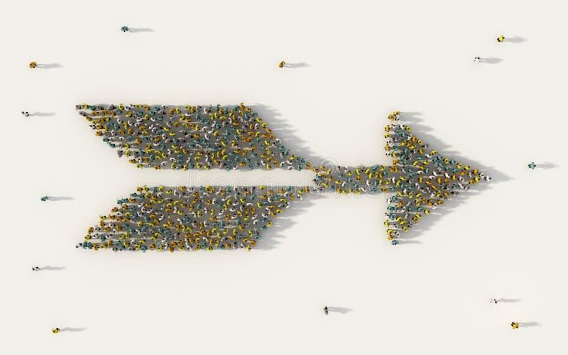 Grupo de personas grande que forma un símbolo de la flecha del arco en negocio, medios sociales, y concepto de la comunidad en el ilustración del vector