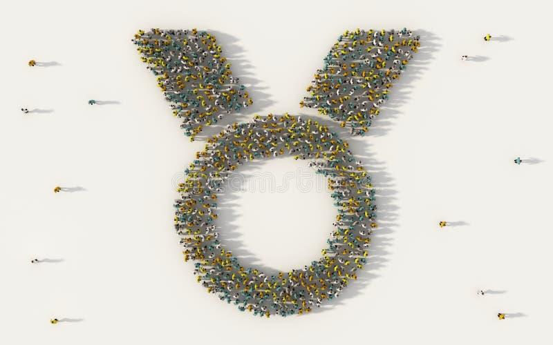 Grupo de personas grande que forma un símbolo de la medalla en concepto social de los medios y de la comunidad en el fondo blanco ilustración del vector