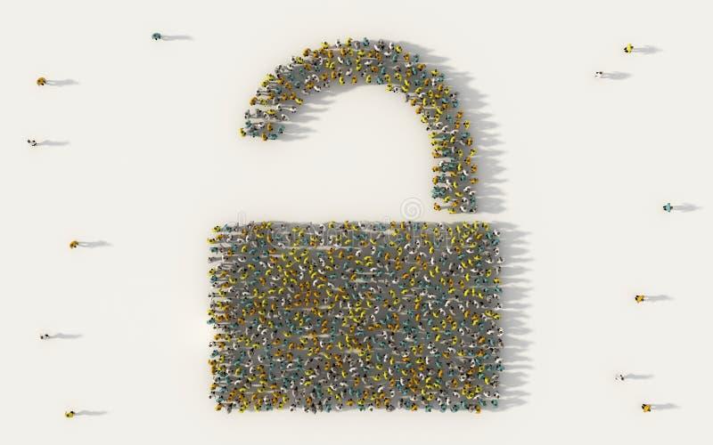 Grupo de personas grande que forma una seguridad para desbloquear símbolo en concepto social de los medios y de la comunidad en e libre illustration