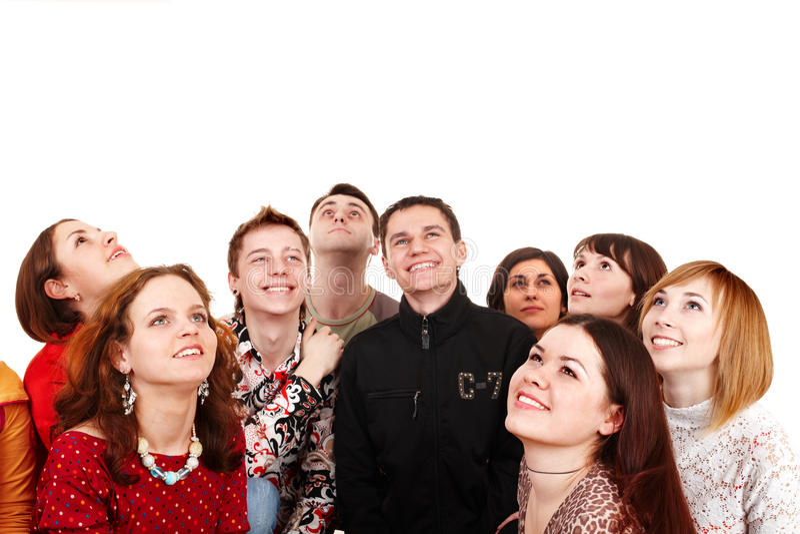 Grupo de personas grande que mira para arriba. imagen de archivo libre de regalías