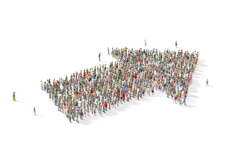 Grupo de personas grande recolectado en la forma de una flecha stock de ilustración