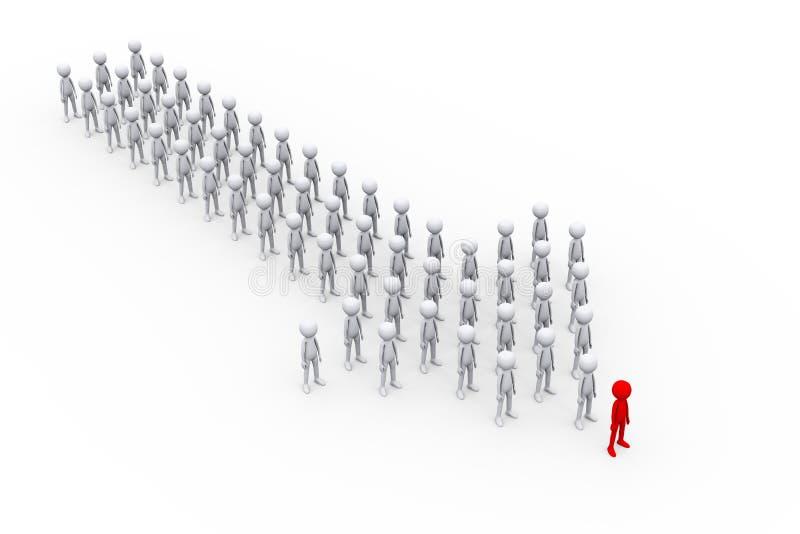 grupo de personas de la flecha 3d con el líder ilustración del vector