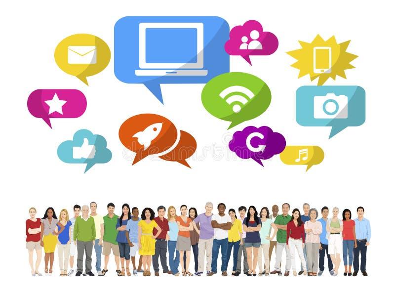 Grupo de personas Multi-étnico y medios concepto social libre illustration