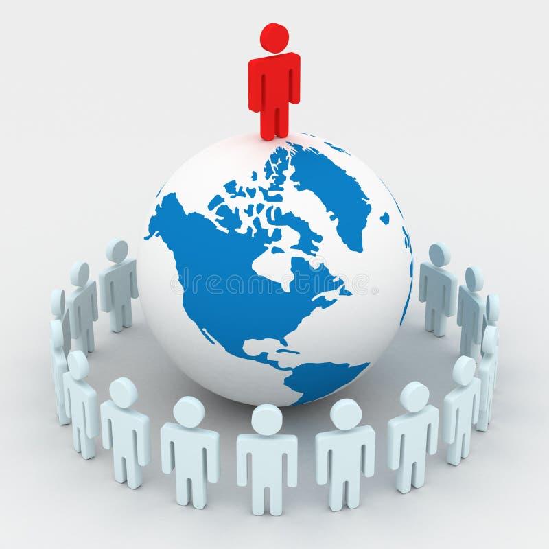 Grupo de personas que coloca el globo redondo. ilustración del vector