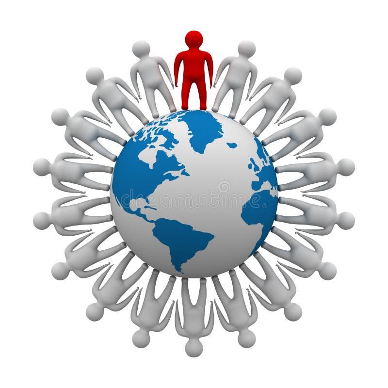 Grupo de personas que coloca el globo redondo. stock de ilustración