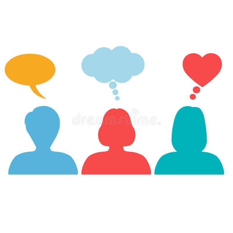 Grupo de personas que discute en una reunión Concepto social de la red en un fondo blanco libre illustration