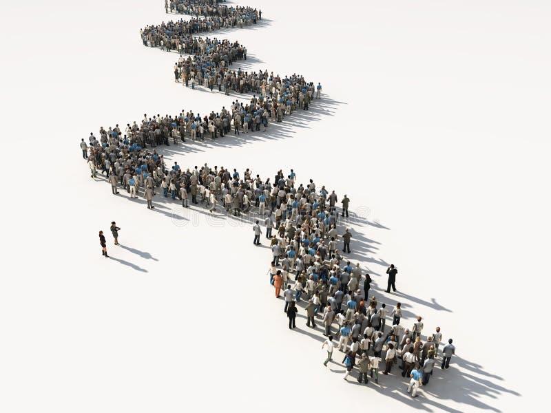 Grupo de personas que espera en línea libre illustration