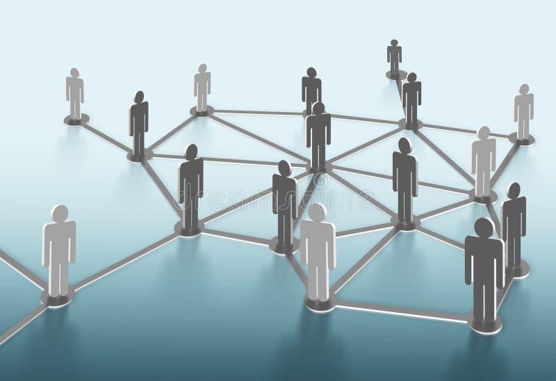 Grupo de personas que habla en red social stock de ilustración