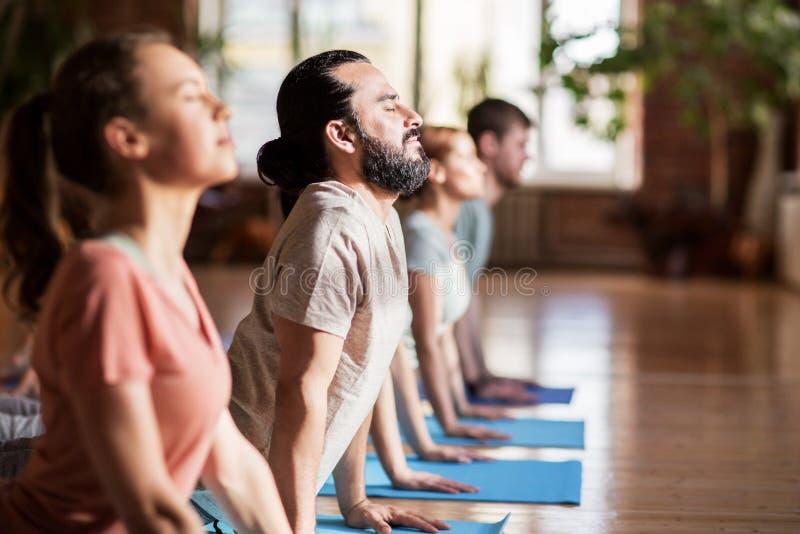 Grupo de personas que hace actitud del perro de la yoga en el estudio imagenes de archivo