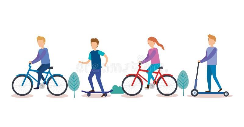 Grupo de personas que hace actividades ilustración del vector