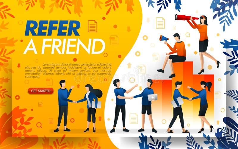 Grupo de personas que sacude las manos y hace los tratos, negocios para referir un márketing llano frined y multi ilustratio del  ilustración del vector