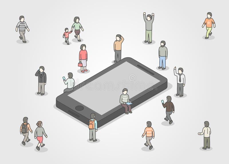 Grupo de personas que se coloca alrededor de smartphone Concepto social de la red y de los medios Diseño isométrico ilustración del vector