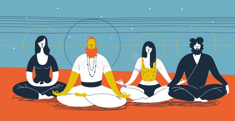 Grupo de personas que se sienta en postura de la yoga y que medita contra fondo azul y anaranjado abstracto con las lineas horizo ilustración del vector