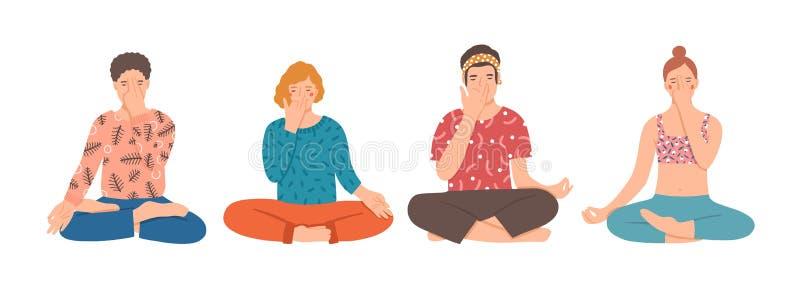 Grupo de personas que se sienta a piernas cruzadas en piso y que realiza ejercicio de respiración de la yoga El practicar de los  stock de ilustración