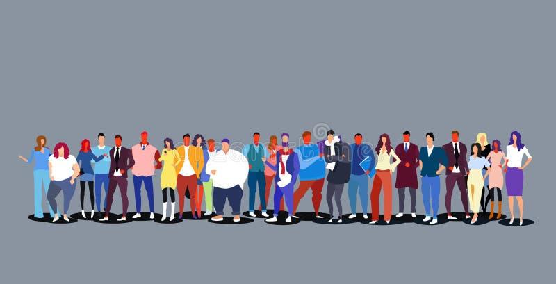 Grupo de personas que se une horizontal integral de los hombres de las mujeres de la muchedumbre grande diversa de los empresario stock de ilustración