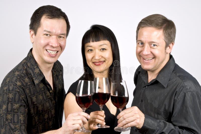 Grupo de personas que tuesta con el vino rojo fotografía de archivo
