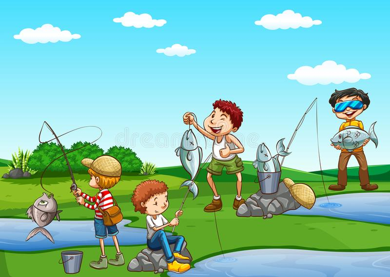 Grupo de pesca dos meninos ilustração do vetor