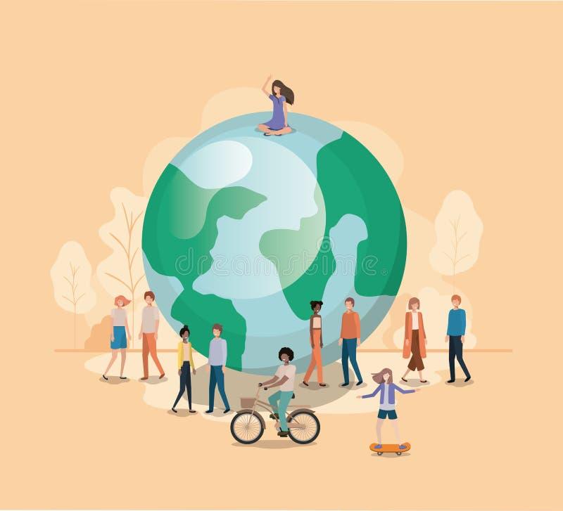 Grupo de pessoas com caráter do avatar da terra do planeta ilustração stock
