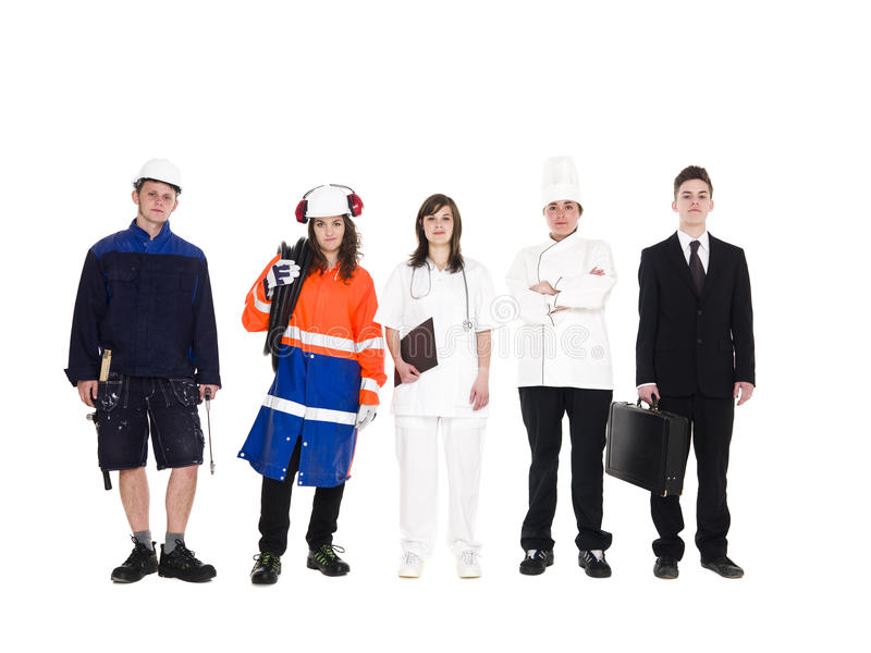 Grupo de pessoas com ocupação diferente imagem de stock