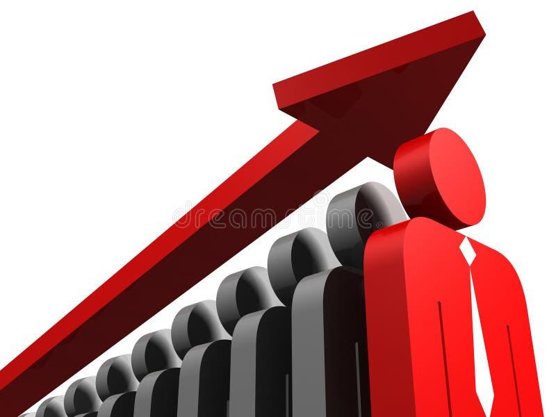 Grupo de pessoas com a pessoa e a seta vermelhas do líder ilustração stock