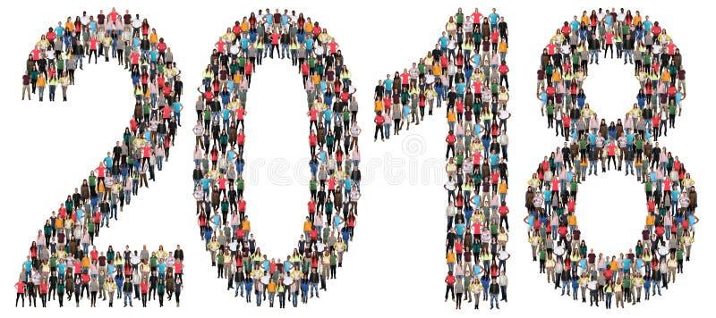 Grupo de pessoas da véspera do ` s do ano novo do ano 2018 imagens de stock royalty free
