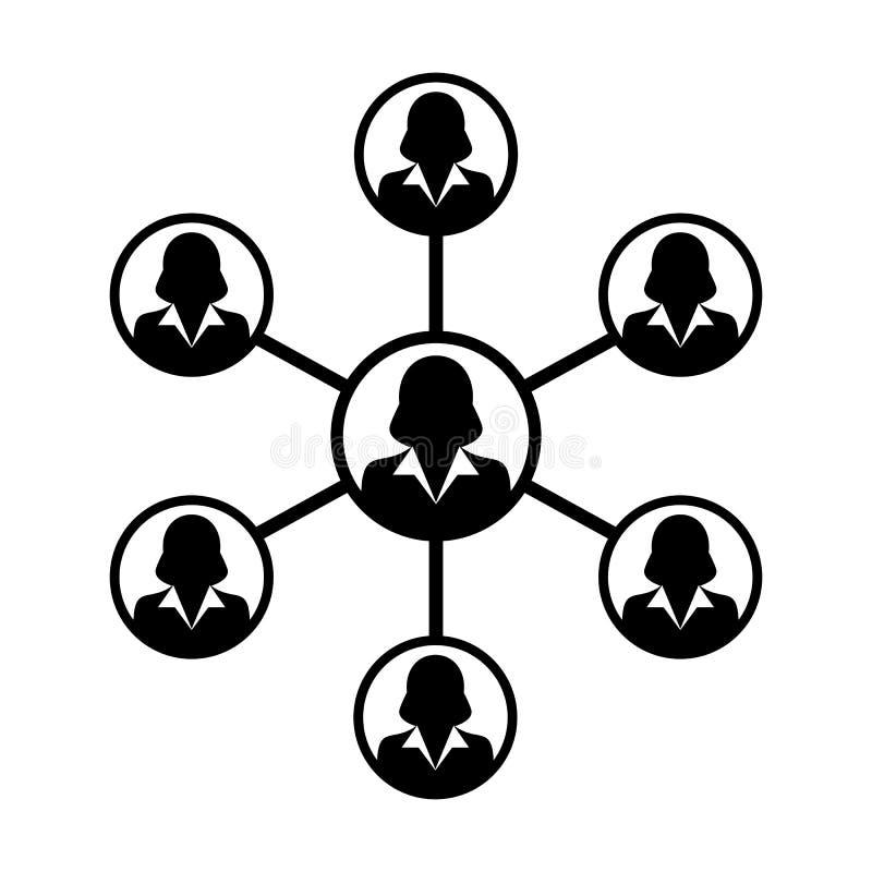 Grupo de pessoas do símbolo do vetor do ícone da rede das mulheres e trabalhos de equipa da pessoa conectada do negócio ilustração stock