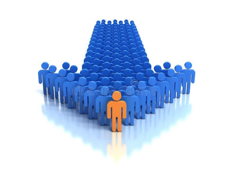 Grupo de pessoas e líder ilustração royalty free
