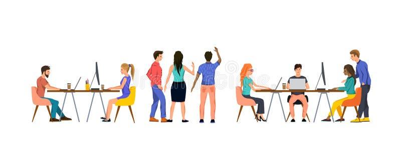 Grupo de pessoas em um escrit?rio que trabalha em equipe ilustração do vetor