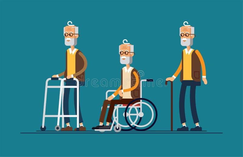 Grupo de pessoas idosas Avô em uma cadeira de rodas ilustração royalty free