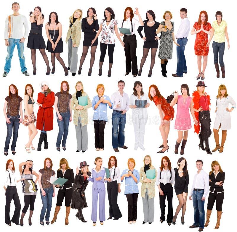 Grupo de pessoas isolado sobre o branco imagens de stock