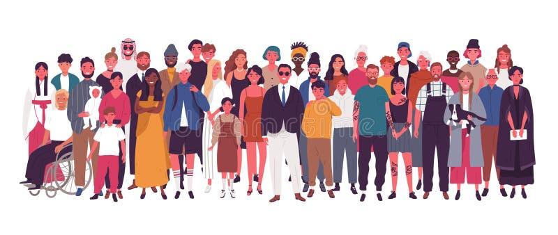 Grupo de pessoas multirracial e multicultural diverso isolado no fundo branco Homens idosos e novos felizes, mulheres e ilustração stock