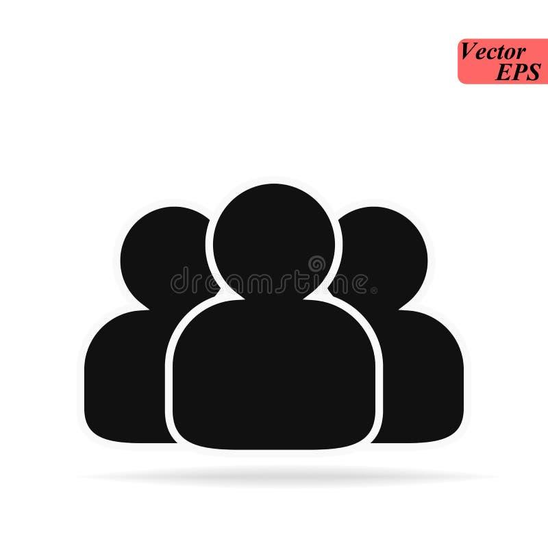 Grupo de pessoas ou grupo de ícone liso dos amigos dos usuários para apps e Web site ilustração do vetor