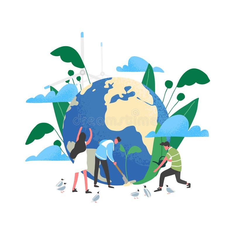 Grupo de pessoas ou ecologistas que tomam da terra e que salvar o planeta Proteção ambiental, uso do eco amigável ou ilustração stock