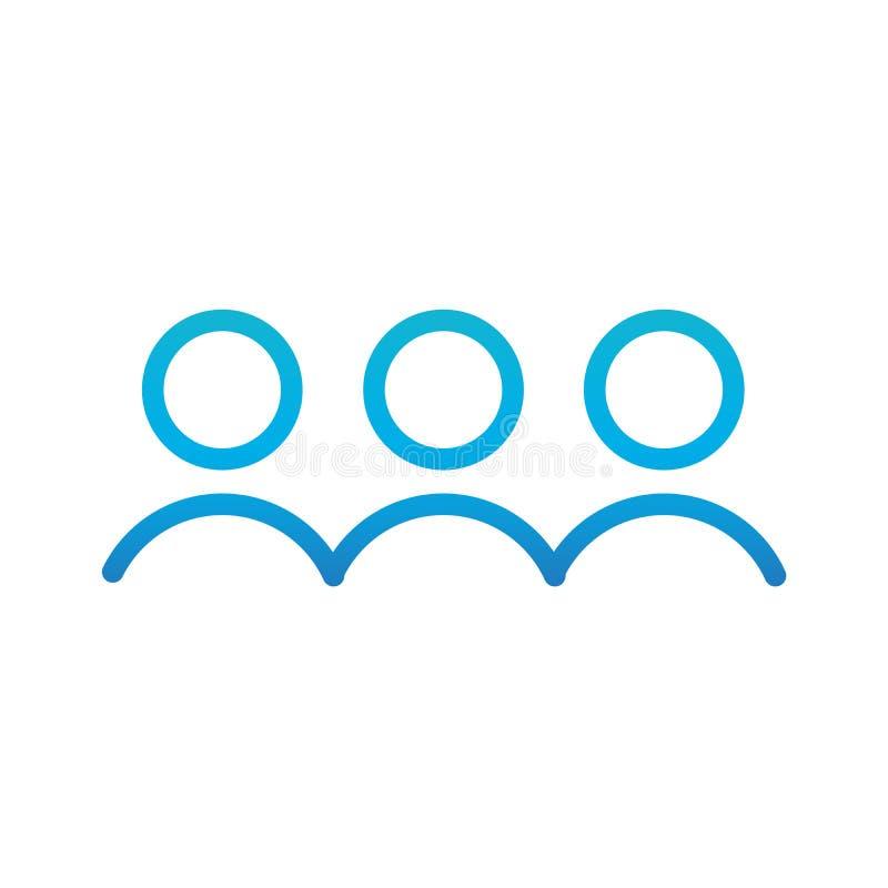 Grupo de pessoas ou grupo de usuários, linha ícone dos amigos da arte para apps e Web site Ilustração do vetor isolada no branco ilustração royalty free