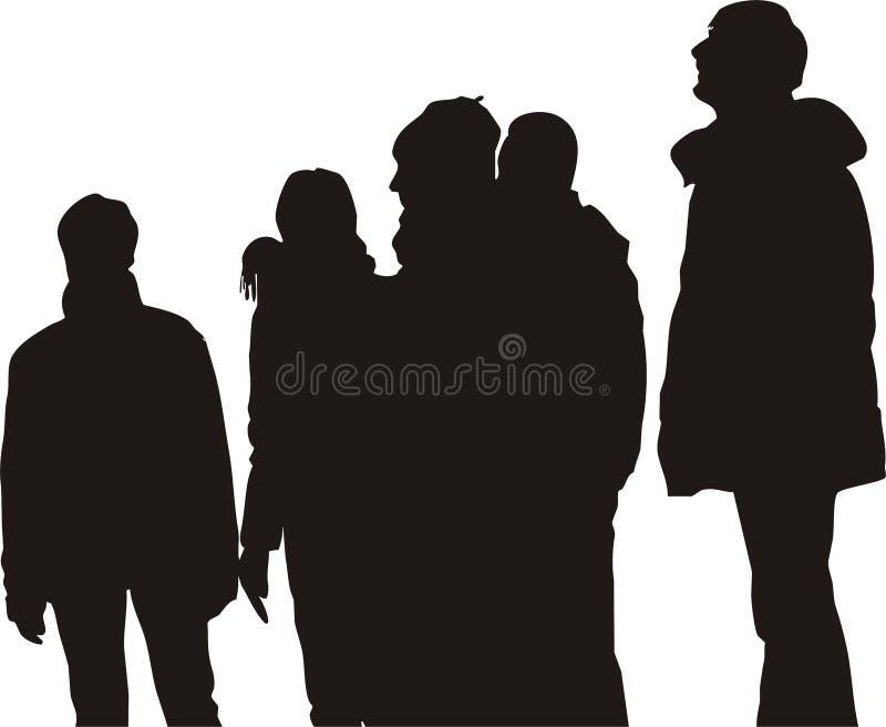 Grupo de pessoas, prestando atenção ilustração stock