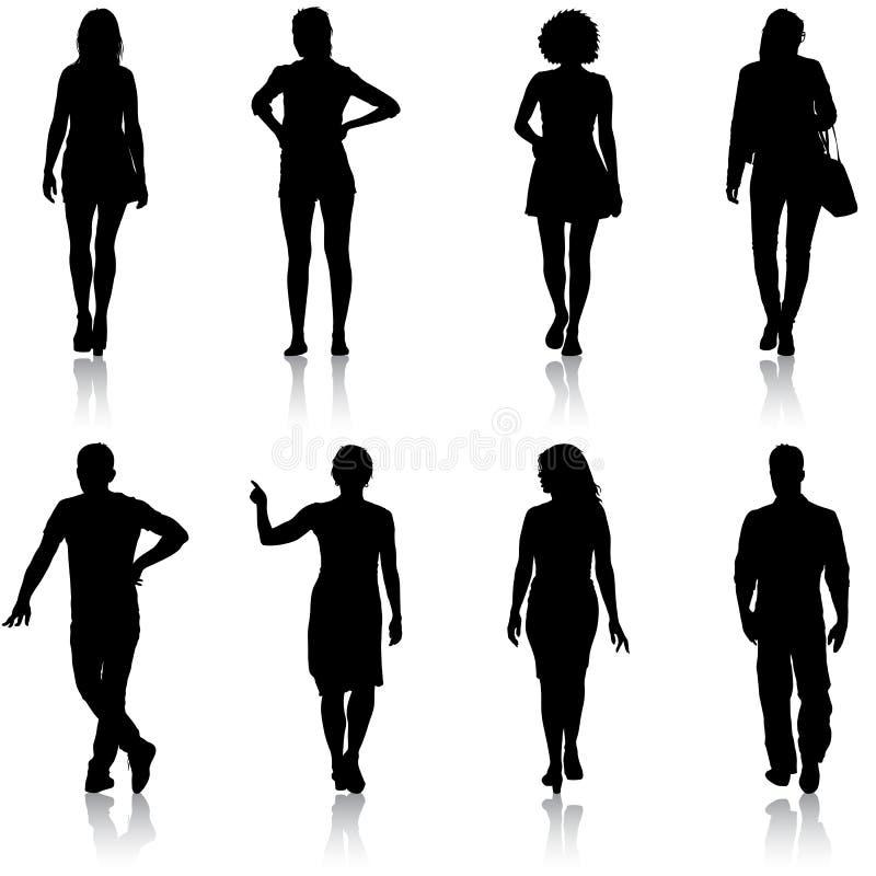 Grupo de pessoas preto da silhueta que está em várias poses ilustração stock