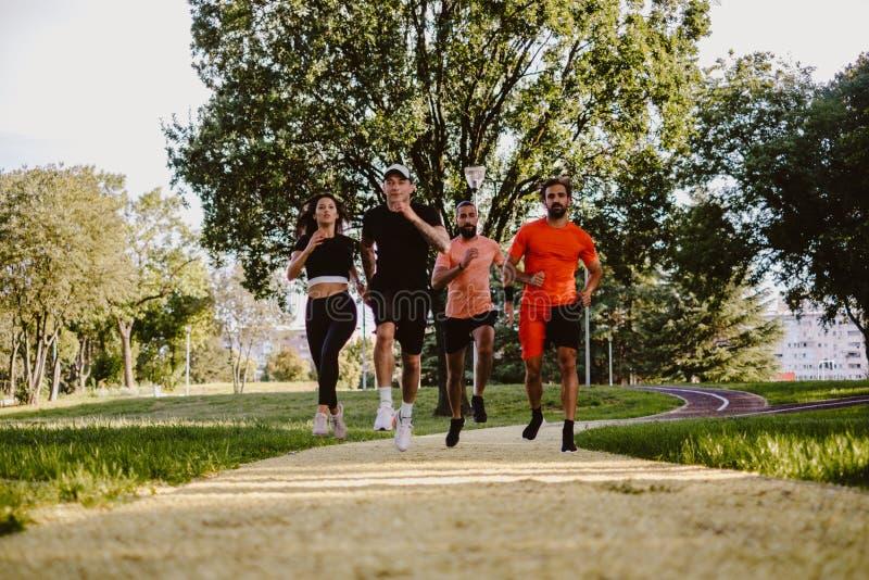 Grupo de pessoas que corre no parque imagens de stock royalty free