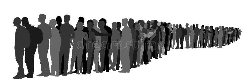 Grupo de pessoas que espera na linha silhueta do vetor Situação da beira imagens de stock