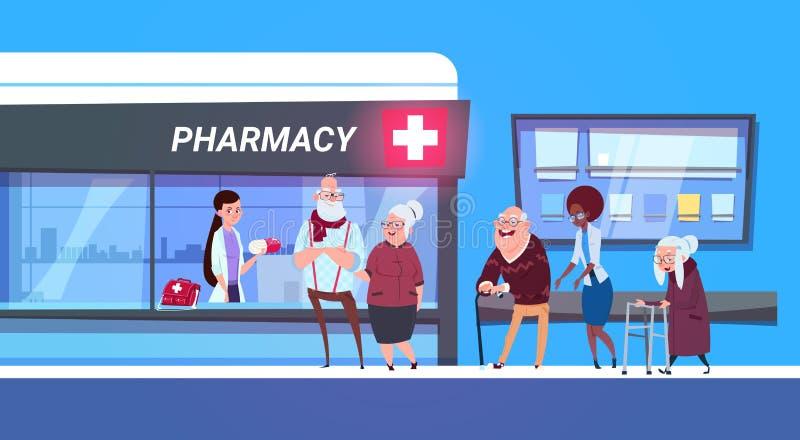 Grupo de pessoas que está na linha à loja da farmácia no conceito moderno da loja da drograria do hospital ilustração do vetor